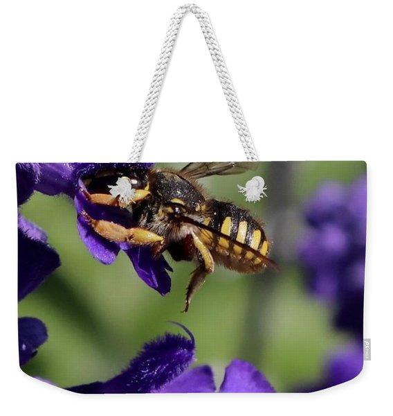 Carder Bee On Salvia Weekender Tote Bag