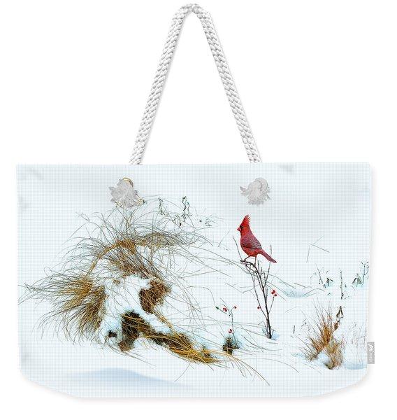 Cardinal Angel In The Snow Weekender Tote Bag