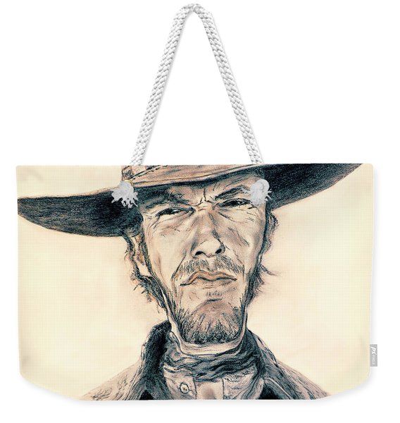 Caricature Of Clint Eastwood As Blondie In The Good The Bad The Ugly Weekender Tote Bag