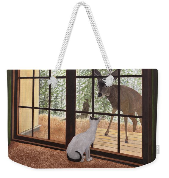 Cat Meets Deer Weekender Tote Bag