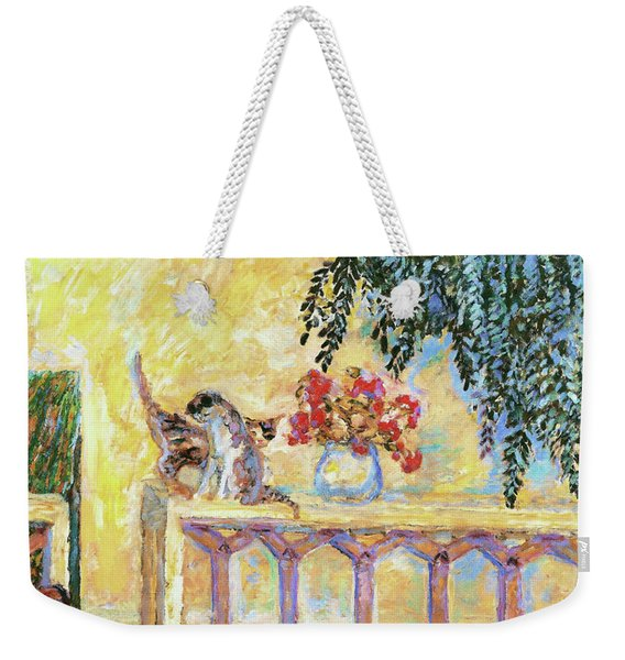 Cats On The Railing - Digital Remastered Edition Weekender Tote Bag
