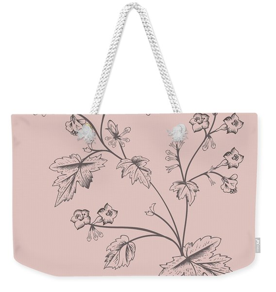 Blush Pink Tropical Leaf II Weekender Tote Bag