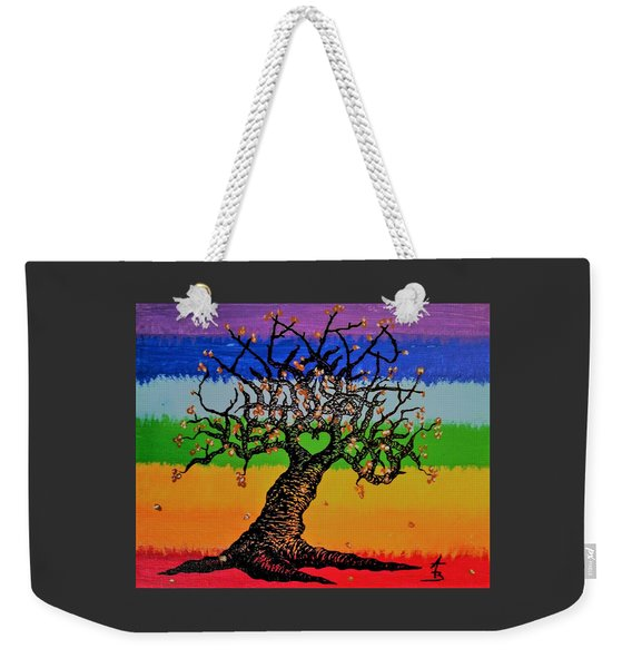 Weekender Tote Bag featuring the drawing Chakra Love Tree by Aaron Bombalicki
