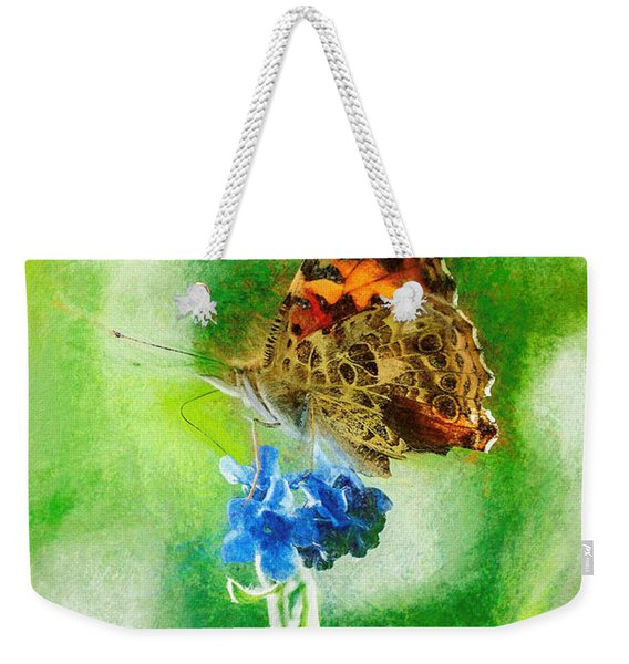 Chalky Painted Lady Butterfly Weekender Tote Bag