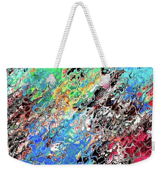 Weekender Tote Bag featuring the digital art Chaos Abstraction Bright by Don Northup