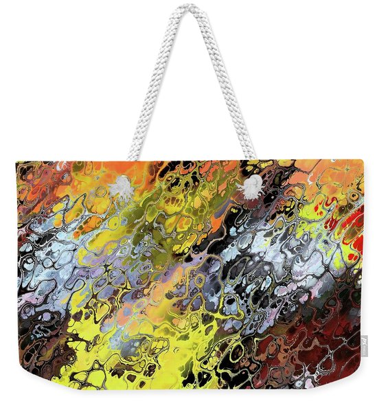 Weekender Tote Bag featuring the digital art Chaos Abstraction Orange by Don Northup