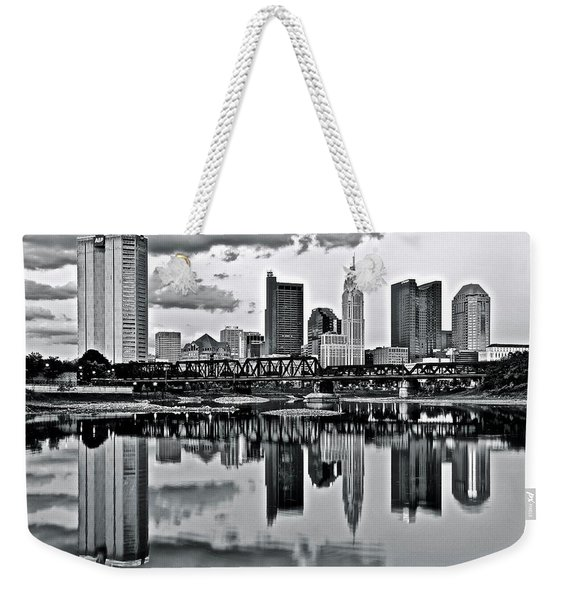 Charcoal Columbus Mirror Image Weekender Tote Bag