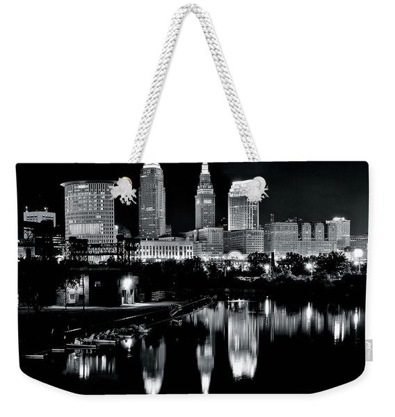 Charcoal Night View Of Cleveland Weekender Tote Bag
