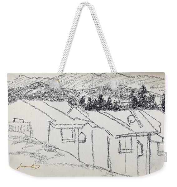 Charcoal Pencil Houses1.jpg Weekender Tote Bag