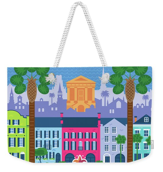 Charleston Poster - Retro Travel  Weekender Tote Bag