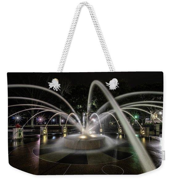 Charleston's Splash Fountain At Night Weekender Tote Bag