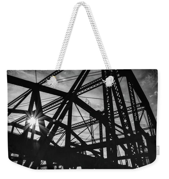 Charlestown Bridge Boston Massachusetts Black And White Weekender Tote Bag