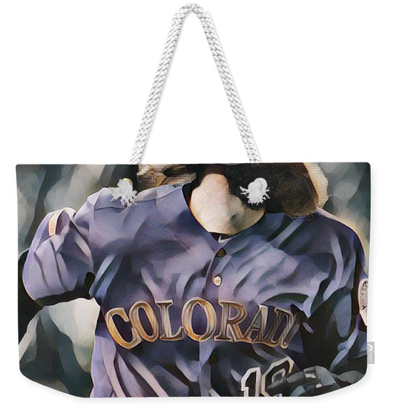 Charlie Blackmon Colorado Rockies Abstract Art 1 Weekender Tote Bag