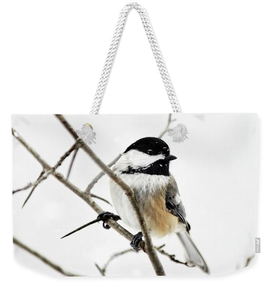 Charming Winter Chickadee Weekender Tote Bag
