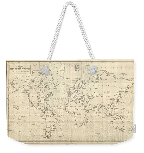 Chart Of Magnetic Curves Of Equal Variation - Antique World Map - Cartography Weekender Tote Bag