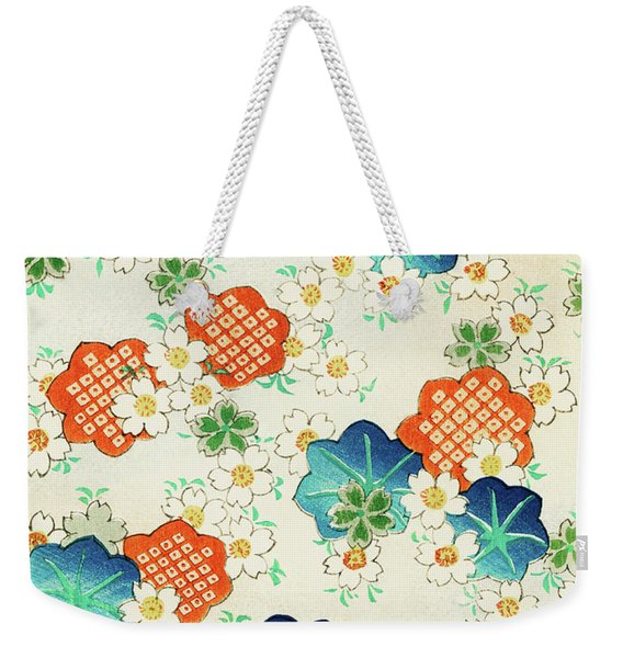 Cherry Blossoms And  Fallen Leaf- Japanese Traditional Pattern Design Weekender Tote Bag