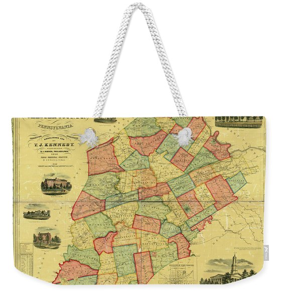 Chester County Pennsylvania Map 1856 Weekender Tote Bag