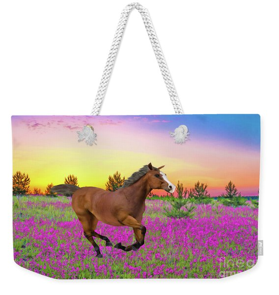 Chestnut Horse In Summer Meadow Weekender Tote Bag