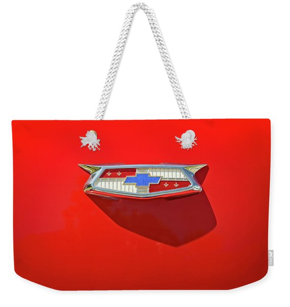 Chevrolet Emblem On A 55 Chevy Trunk Weekender Tote Bag