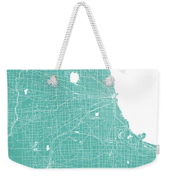 Chicago Map Teal Weekender Tote Bag