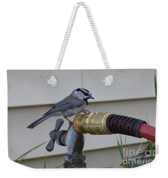 Chickadee On A Spigot Weekender Tote Bag