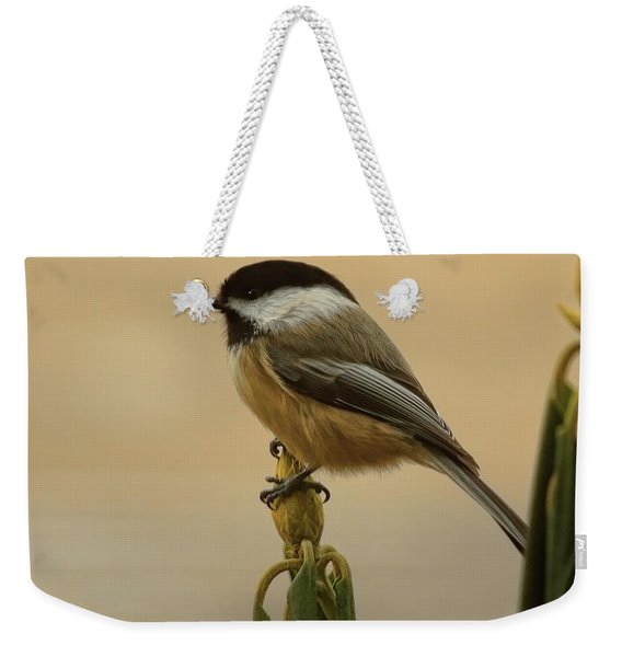 Chickadee On Rhododendron Weekender Tote Bag