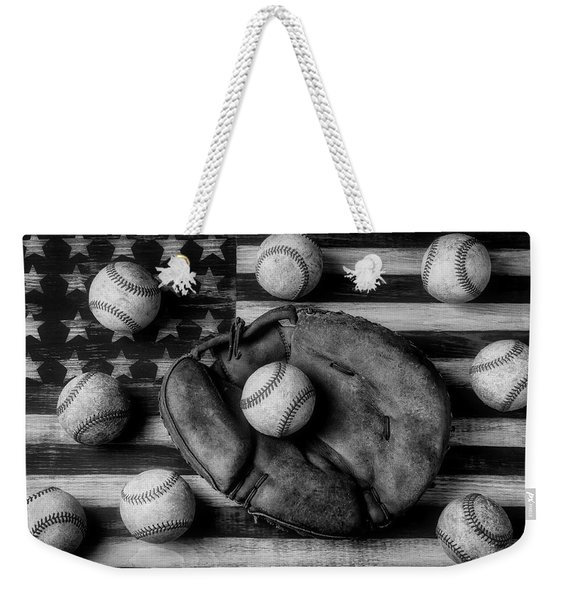 Childhood Catchers Mitt On Flag In Black And White Weekender Tote Bag