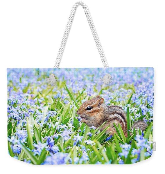 Chipmunk On Flowers Weekender Tote Bag