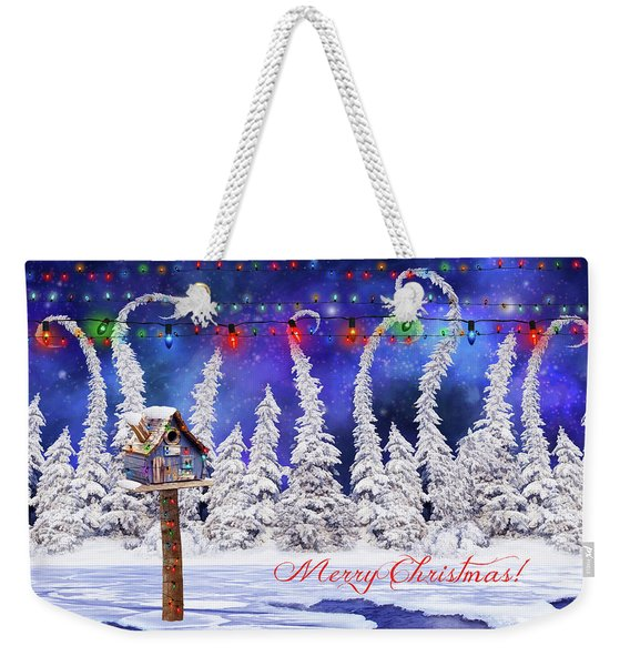 Christmas Card With Bird House Weekender Tote Bag