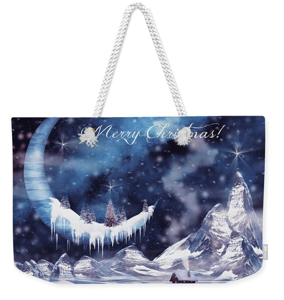 Christmas Card With Frozen Moon Weekender Tote Bag