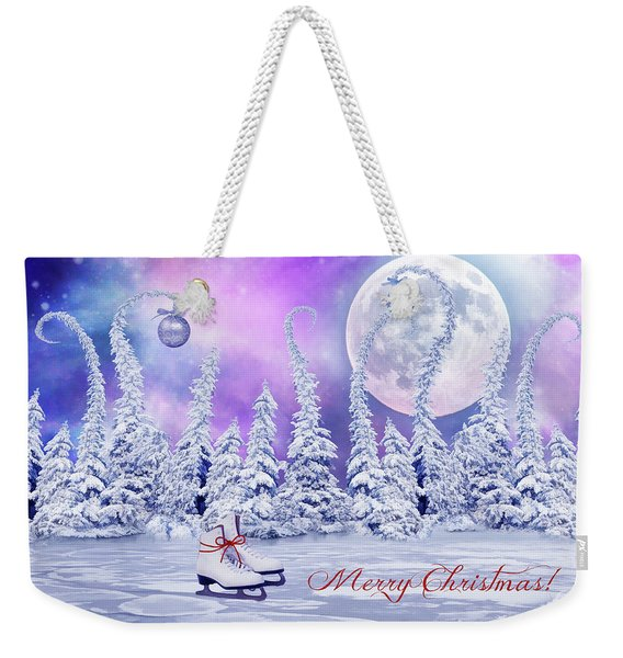 Christmas Card With Ice Skates Weekender Tote Bag