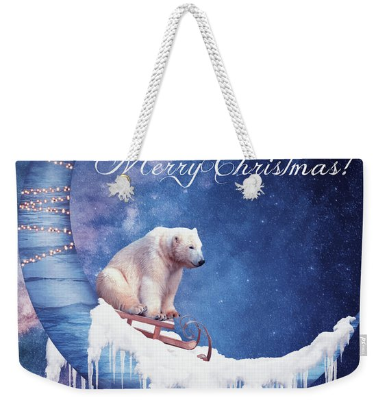 Christmas Card With Moon And Bear Weekender Tote Bag