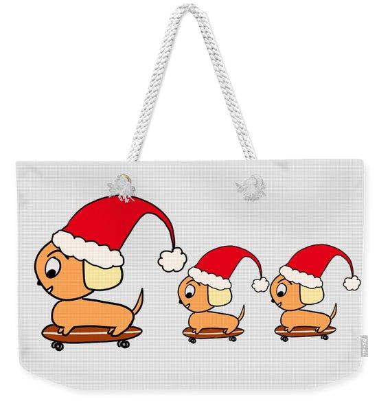 Christmas Dogs On Skateboards Weekender Tote Bag