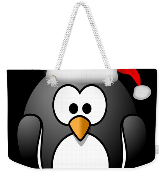 Weekender Tote Bag featuring the digital art Christmas Santa Penguin by Flippin Sweet Gear