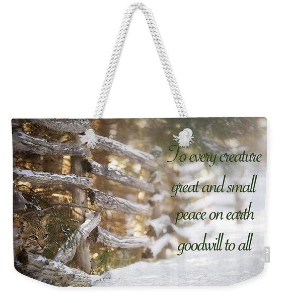 Christmas W/bobcat Weekender Tote Bag