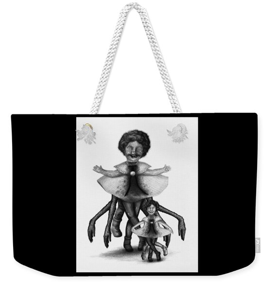 Weekender Tote Bag featuring the drawing Cindy And Her Monstrous Doll - Artwork by Ryan Nieves