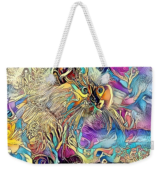 Weekender Tote Bag featuring the digital art Circus Kitty by Don Northup