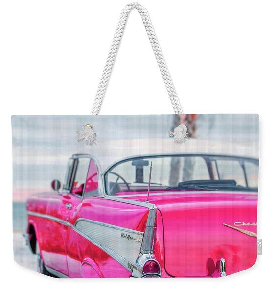 Classic Vintage Pink Chevy Bel Air 8x10 Weekender Tote Bag