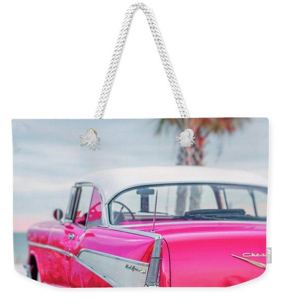 Classic Vintage Pink Chevy Bel Air Request  Weekender Tote Bag