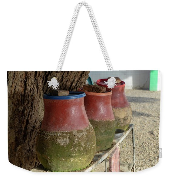Clay Jugs Filled With Water To Drink Or Wash For Hikers And Visitors In A Village In Sudan. Weekender Tote Bag