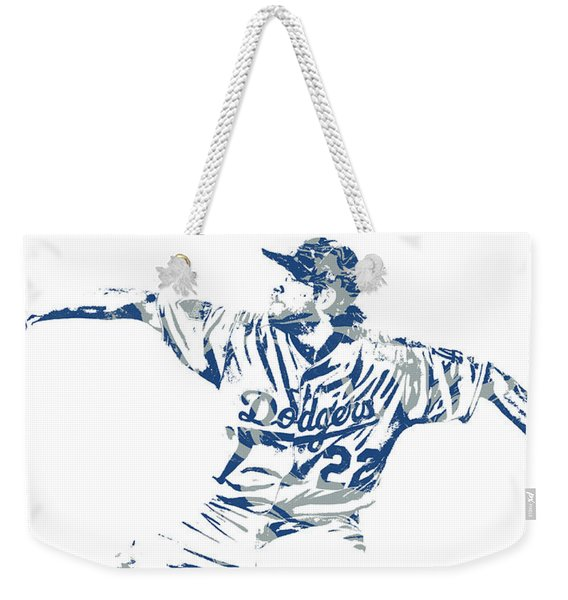 Clayton Kershaw Los Angeles Dodgers Pixel Art 50 Weekender Tote Bag