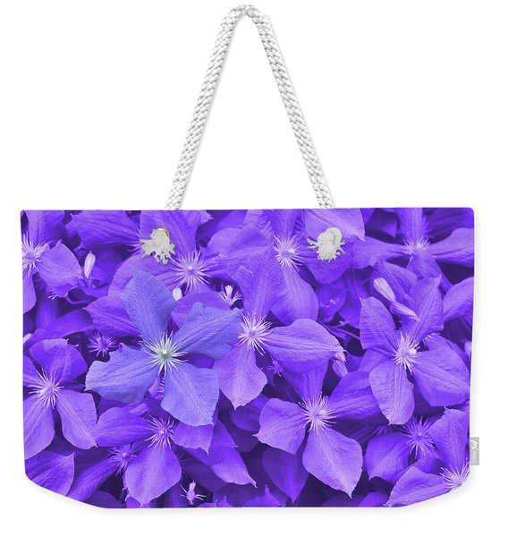Weekender Tote Bag featuring the photograph Clematis by JAMART Photography