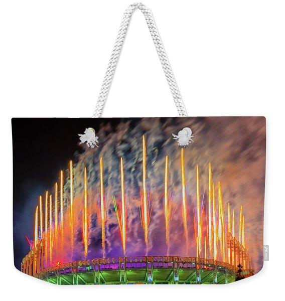 Cleveland Baseball Fireworks Awesome Weekender Tote Bag