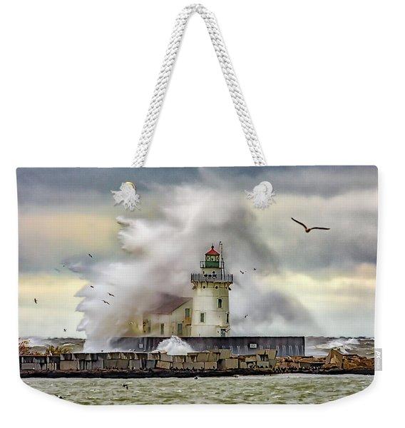Cleveland Lighthouse Storm  Weekender Tote Bag