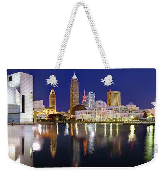 Cleveland Skyline At Dusk Rock Roll Hall Fame Weekender Tote Bag