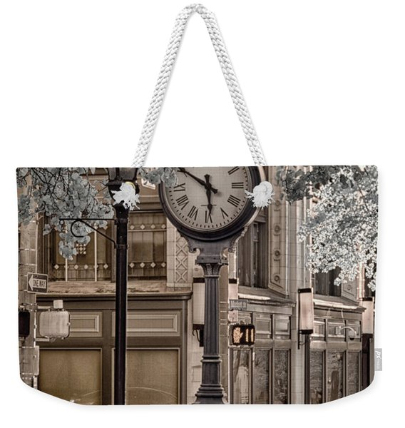 Clock On Street Weekender Tote Bag