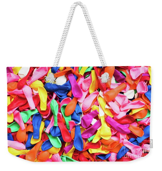 Close-up Of Many Colorful Children's Balloons, Background For Mo Weekender Tote Bag