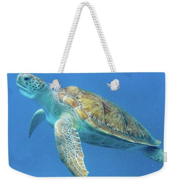 Close Up Sea Turtle Weekender Tote Bag