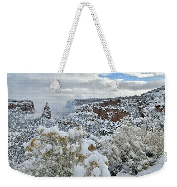 Clouds Break Over Snow Covered Independence Canyon Weekender Tote Bag