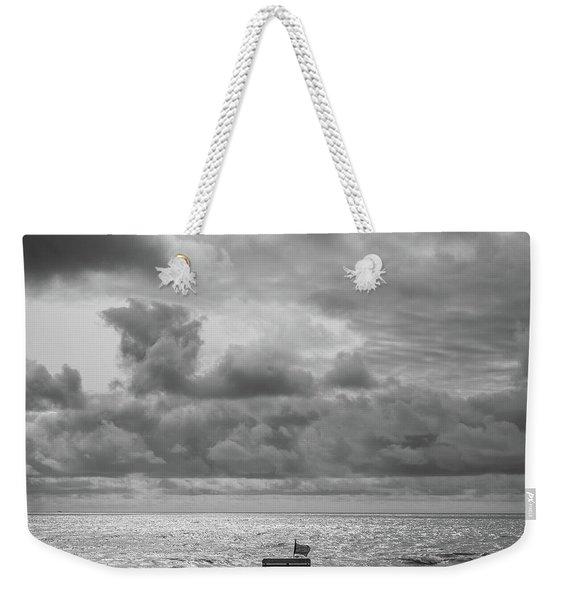 Cloudy Morning Rough Waves Weekender Tote Bag